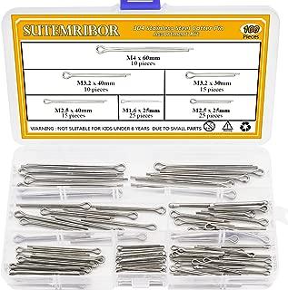 Sutemribor 100PCS Cotter Pin Clip Key Fastener Fitting Assortment Kit - 304 Stainless Steel