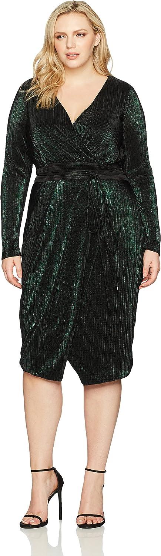 Rachel Roy Womens Plus Size Ribbed Knit Faux Wrap Dress Dress