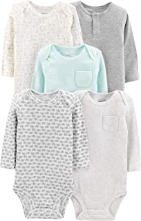 Simple Joys by Carter's 5-Pack Neutral Long-Sleeve Bodysuit Mixte bébé, Lot de 5