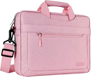 MOSISO Laptop Shoulder Bag Compatible with 15-15.6 inch MacBook Pro, Ultrabook Netbook with Adjustable Depth at Bottom, Polyester Messenger Briefcase Carrying Handbag Sleeve Case Cover, Pink