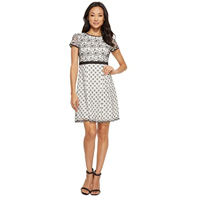 Adrianna Papell Petite Twin Lace Fit Flare Dress (Ivory/Black) Women