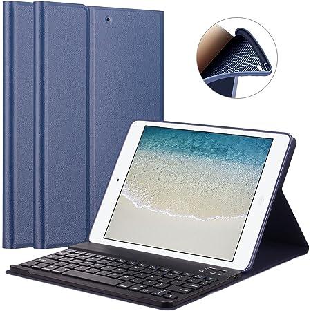 GOOJODOQ Funda de Teclado para iPad 2017/2018 9.7/ iPad Air, Cubierta de Soporte TPU Suave+Teclado