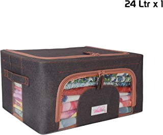 BlushBees® Living Box - Storage Boxes for Clothes, Saree Cover - 24 Litre, Pack of 1, Espresso Brown