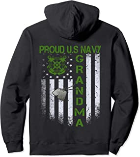 Vintage Flag Proud US Navy Grandma Dog Tags Military gift  Pullover Hoodie