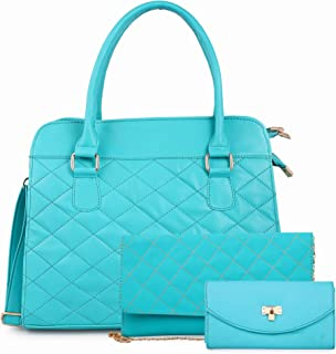 Classic Fashions Women's PU 1 Sling Bag 1 Top Handle Shoulder Bag and 1 Clutch (Sea Green) -Combo 3 Piece Set