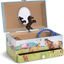 Jewelkeeper Girl's Musical Jewelry Storage Box with Pullout Drawer, Horse and Barn Design, Home on The Range Tune