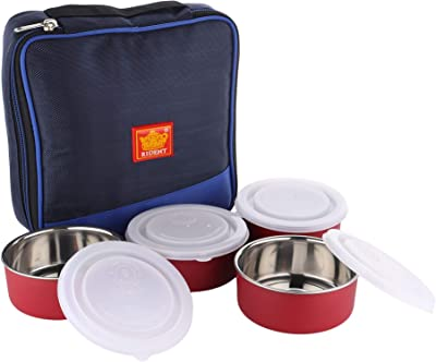 Rident Kitchen Insulated Sleek & Premium Lunch Box Bag with 4 Stainless Steel Microwave Safe Containers and Spoon - 1200 ml - Blue
