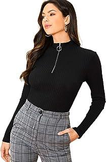 Romwe Women's Rib Knit Long Sleeve Half Zip Front O Ring Mock Neck Blouse Tops Tee