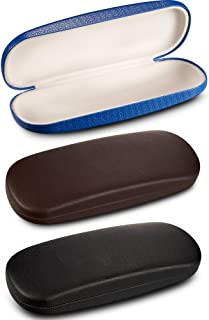 3 Pieces Hard Shell Glasses Eyeglasses Sunglasses Case with Eyeglass Cloth