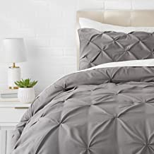 AmazonBasics - Juego de cama con colcha fruncida en pellizco, 155 x 220 cm, Gris oscuro