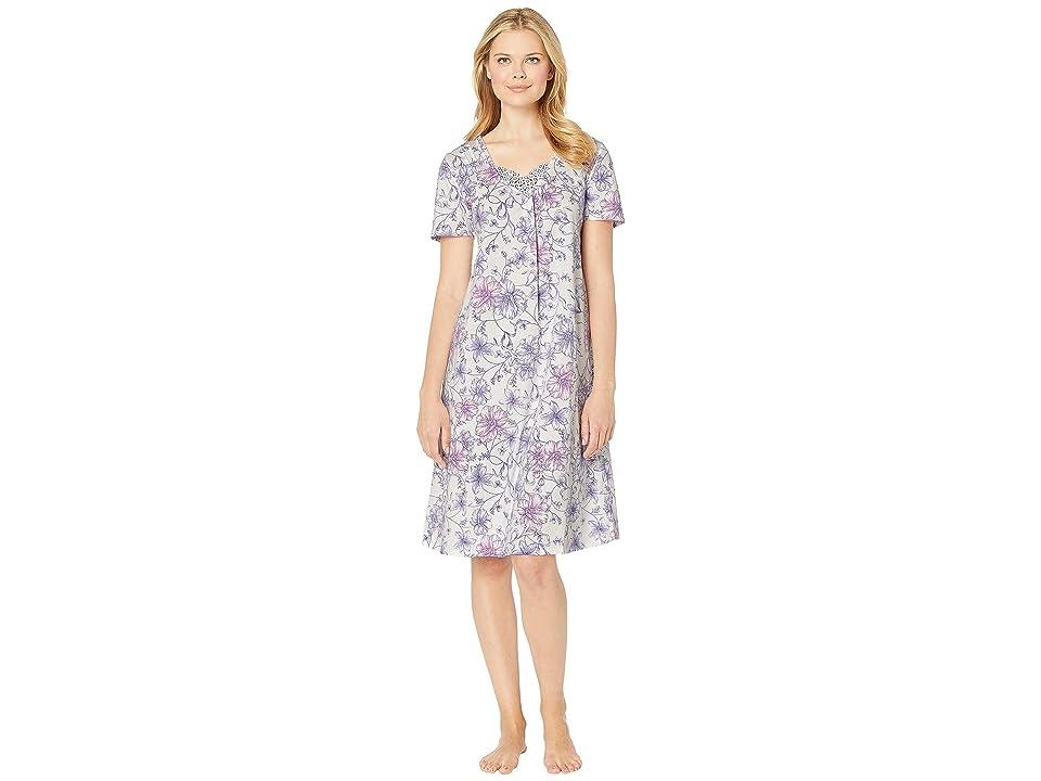 Carole Hochman Long Gown CH81704 (White Watercolor Floral) Women
