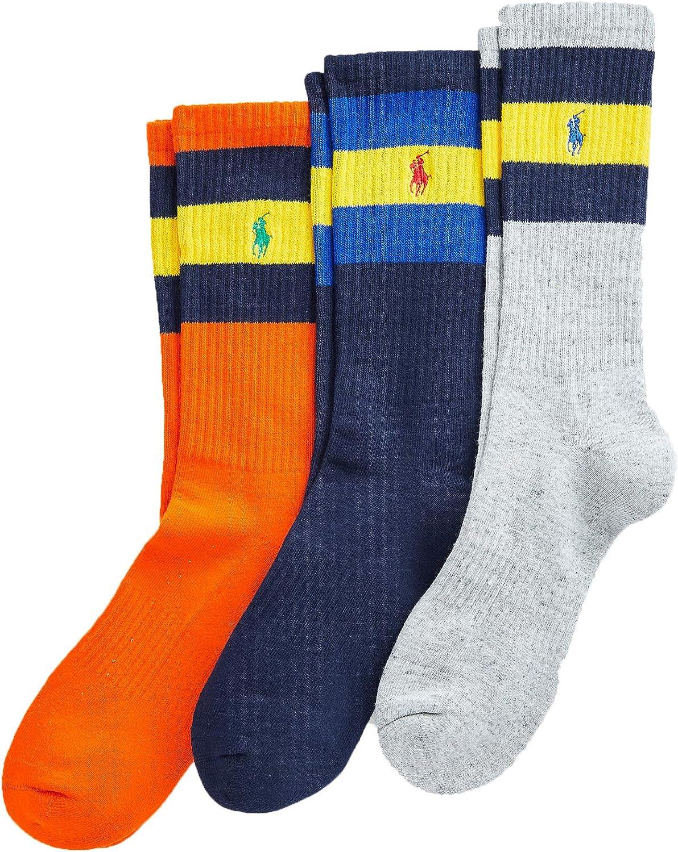 Polo Ralph Lauren Men's Striped-Cuff Crew Sock 3-Pack Size 10-13