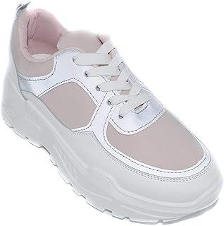 a4586476330c2e Basket Femmes Semelle Compensées Fluorescent - Chaussure De Sport Sneakers  Plateforme Lacet Bimatière Brillante Urbain -