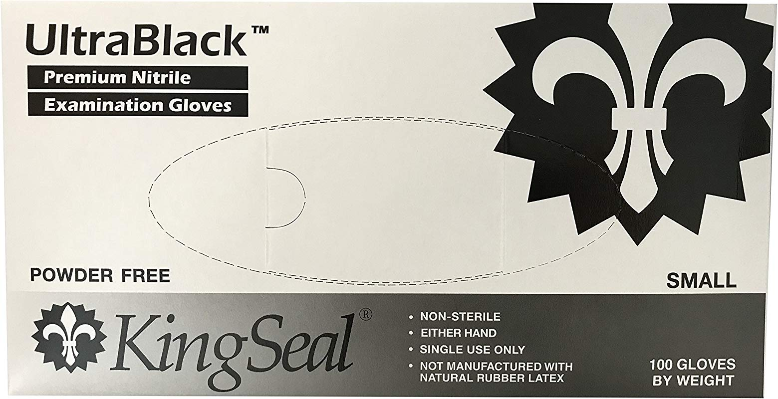 KingSeal UltraBlack Black Nitrile Exam Gloves Latex Free Powder Free Size Small 4 Mil Textured Fingertips Medical Grade 1 Master Case Of 10 Boxes Of 100 Each