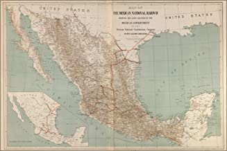 20x30 Poster; Map Of The Mexican National Railroad Mexico 1881