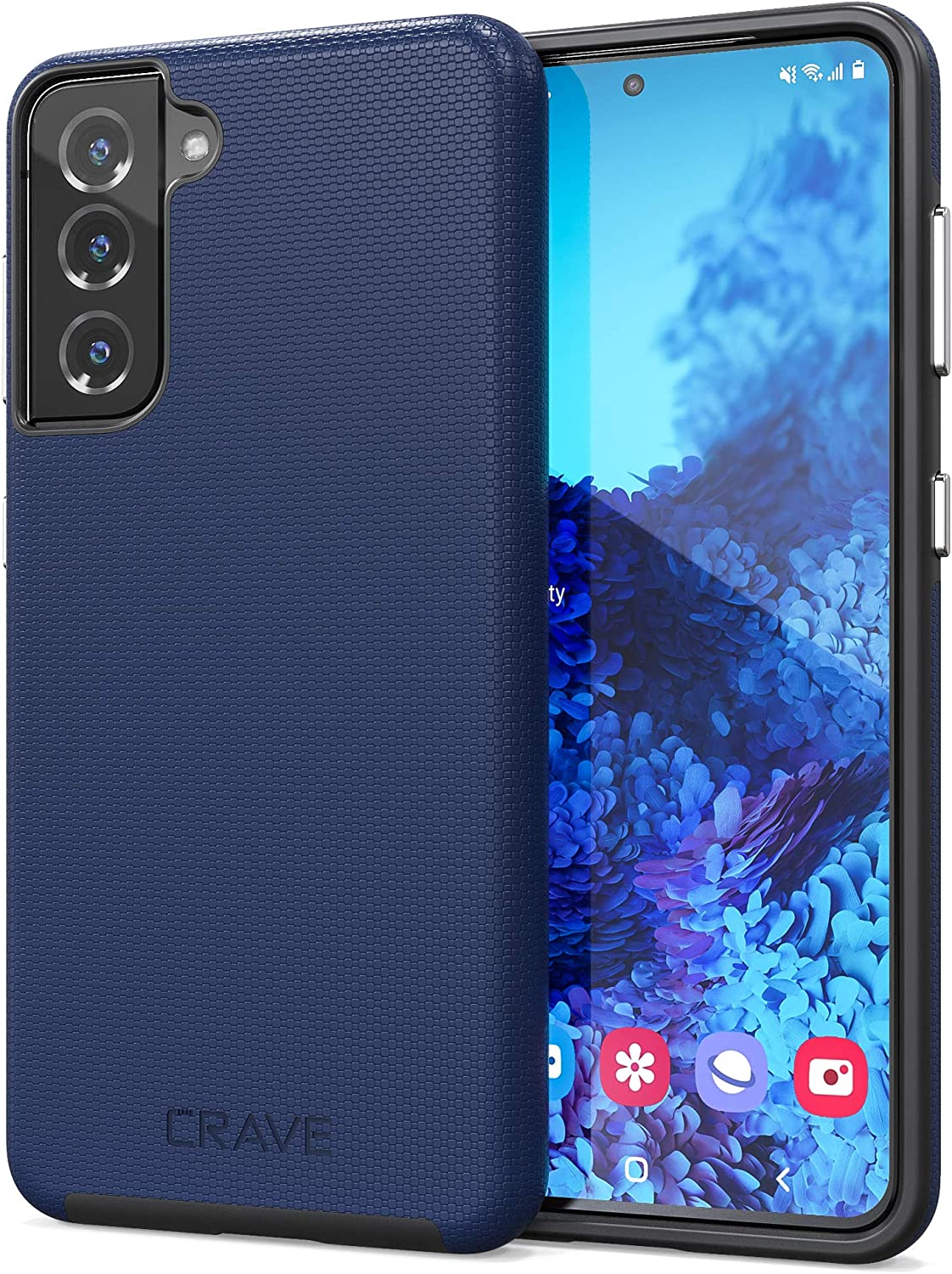 Crave Dual Guard for Galaxy S21 Case, Shockproof Protection Dual Layer Case for Samsung Galaxy S21, S21 5G (6.2 inch) - Navy