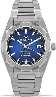 LOUIS XVI - La Vauguyon 1035 - Reloj de pulsera para hombre con correa de acero plateado y azul Super-LumiNova