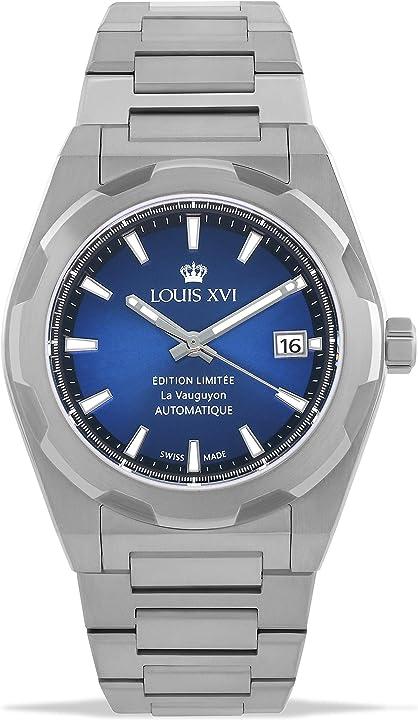 Orologio da polso da uomo la vauguyon con cinturino in acciaio argentato e blu - louis xvi 1035