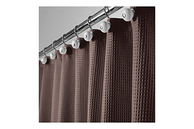 Blend Fabric Shower Curtain With Waffle Weave And Rustproof Metal Grommets For Bathroom Showers Bathtubs