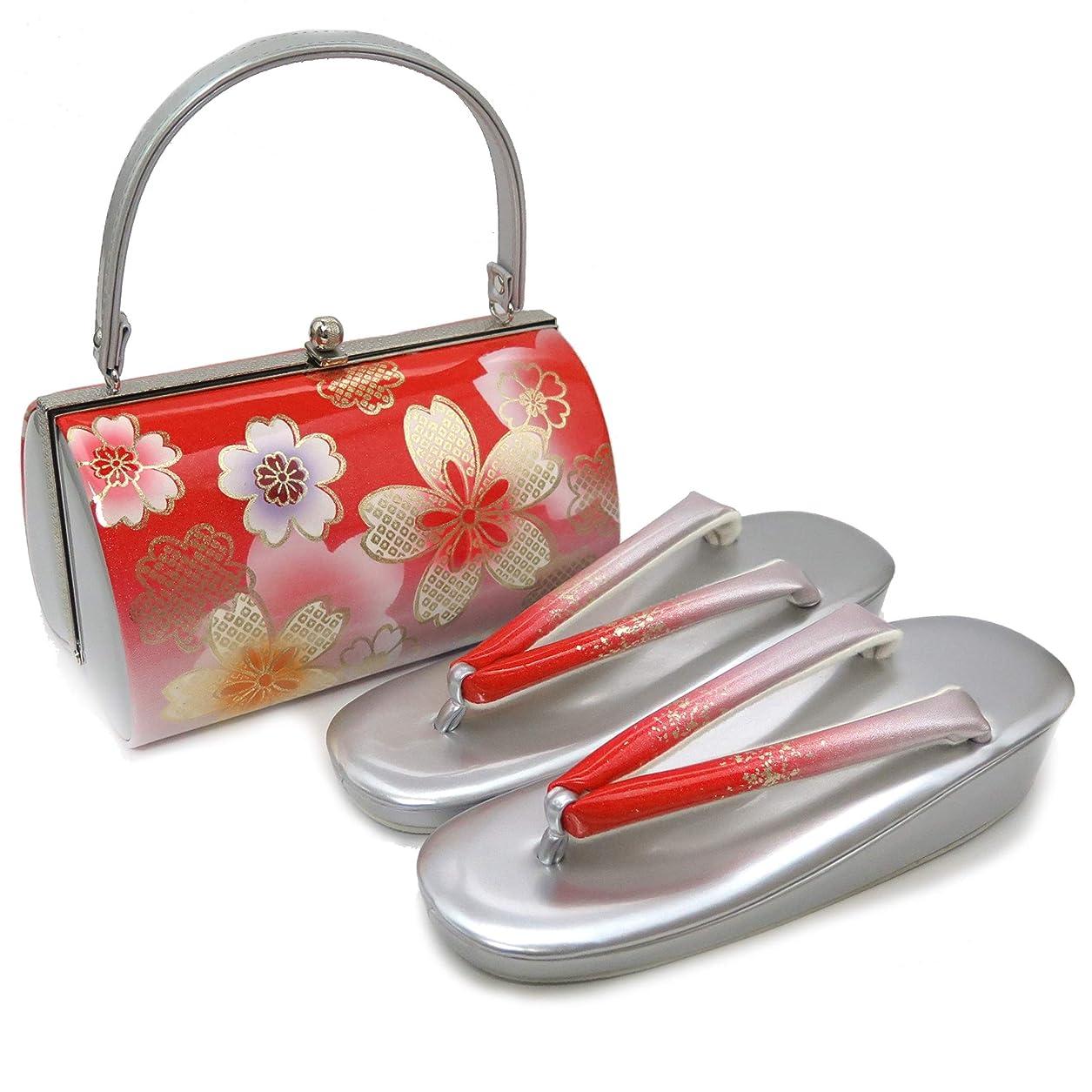 本部シェーバー暗殺者草履バッグセット 振袖 成人式 草履 和装バッグセット フリーサイズ「赤 桜×シルバー」ZBF964