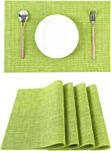 LILYKING Green Placemats for Dining Table Heat-Resistant and Washable Table Mats of Kitchen Woven Textilene Non-Slip Insulation Placemat Set of 4