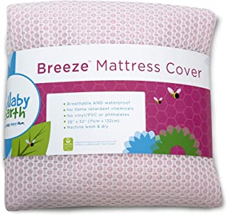 LULLABY EARTH Breeze | Baby Crib Mattress Protector Pad - 100% Breathable and Washable - Increase Airflow Under Baby - Waterproof Backing - Pink