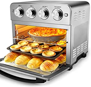 Geek Chef Air Fryer Toaster Oven, 6 Slice Large Convection Airfryer Countertop Oven, Roast, Bake, Broil, Reheat, Fry Oil-Free, Cooking Accessories Included, Stainless Steel, 1700W (Air Fryer 24.5QT)