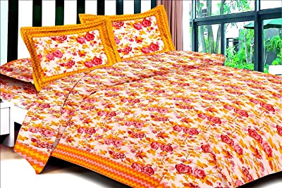 UniqChoice Floral Japuri Printed 120 TC 100% Cotton Double Bedsheet with 2 Pillow Cover,Yellow(SBD_44)