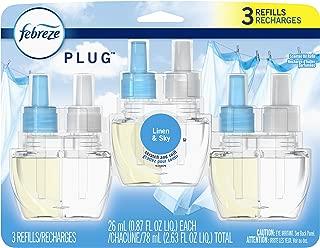 Febreze Odor-Eliminating Plug in Air Freshener Scented Oil Refill, Linen & Sky, 3 Count