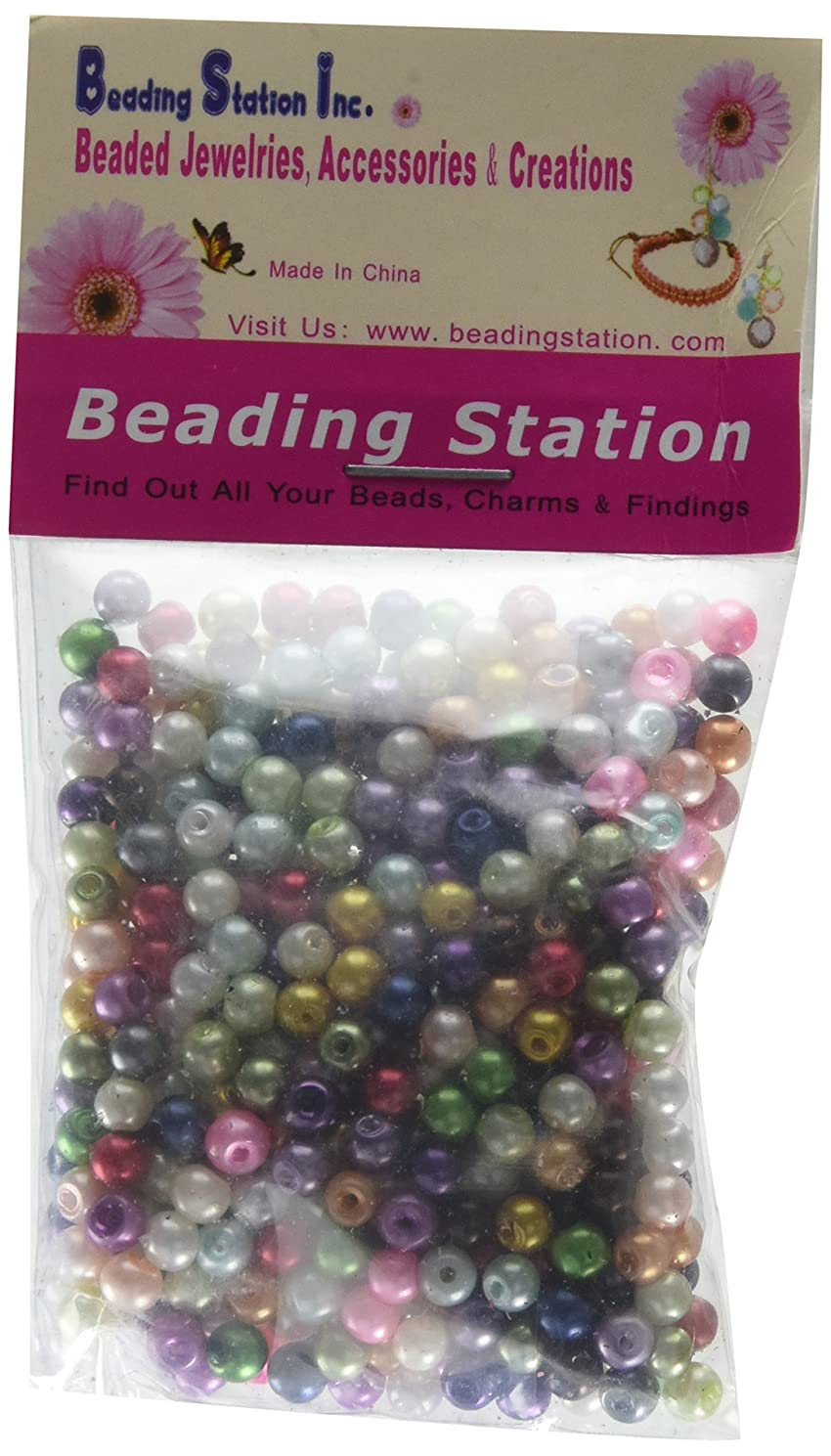 Beading Station 500-Piece Mix Tiny Satin Luster Glass Pearl Round Beads, 4mm