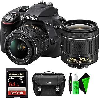 Nikon D3300 DSLR Camera (Black) + Nikon 18-55mm Lens + 64GB PRO Memory Card + Nikon Camera Bag