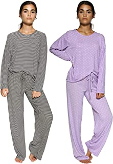Real Essentials 2 Pack: Women's Pajama Set Crew Neck Printed Long Sleeve Top and Pants Loungewear