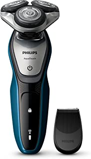 Philips Series 5000 Aqua Touch Wet & Dry Electric Shaver with SmartClick Precision Trimmer for Moustache and Sideburns, Neptune Blue/Charcoal Grey, S5420/06