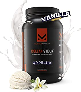 Muscle Market Isolean 5-Hour Premium Hydrolyzed Isolate Protein Powder, 24 Grams of Protein Per Scoop, Low Calorie, Low Ca...