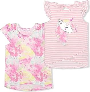 Girl's 2-Pack Unicorn or Panda Graphic Shirt and Printed Tee