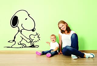 Charlie Brown and Snoopy Wall Vinyl Art Decal/Peanuts Cartoon Kids Bedroom Stickers Decals/Childs TV Characters/Patty Shermy Snoopy Violet Gray Linus Van Pelt/Kids Play Room/Size 15X20 inch