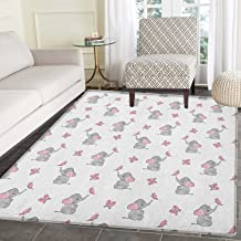 Elephant Nursery Rugs for Bedroom Baby Elephants Playing with Butterflies Design Circle Rugs for Living Room 3'x5' Grey Pale Pink White