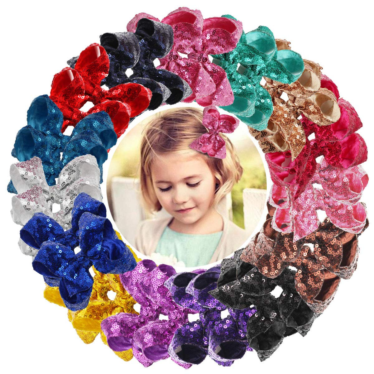 DED 30pcs 2021new shipping free shipping Dallas Mall Sparkly Hair Bows Clips 4 Sequin Alli inch Bow Glitter