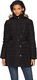 Women's Luxurious Belted Down Coat with Removable Hood
