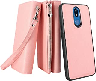 LG K12 Plus/Xpression Plus 2/ Harmony 3/ Solo LTE Case, Lacass Premium Leather Flip Zipper Wallet Case Cover Stand Feature with Card Holder and Wrist Strap for LG K40 LMX420 (Detachable Pink)