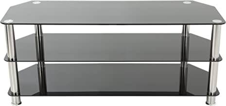 AVF SDC1250-A TV Stand for Up to 60-Inch TVs, Black Glass, Chrome Legs
