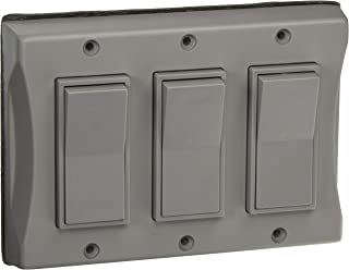 Hubbell 5129-0 3-Gang Weatherproof Cover, Vertical, Decorator, Gray, Shrink,