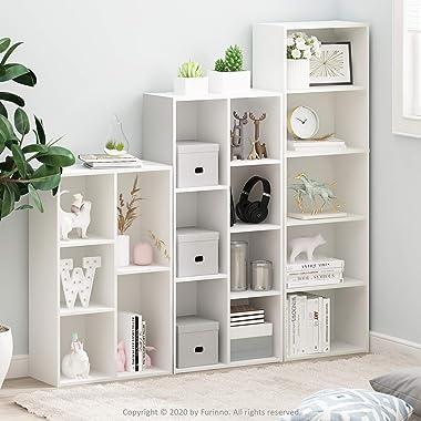 Furinno 5-Tier Reversible Color Open Shelf Bookcase , White