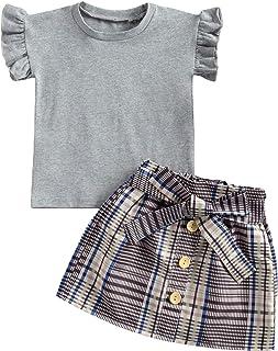 chaochao Set da Ragazza Autunno Primavera Vestiti da Ragazza T-Shirt Manica Lunga 2 Pezzi con Palline Minigonna con Bottoni Stile Tipico per Ragazze da 2 a 7 Anni