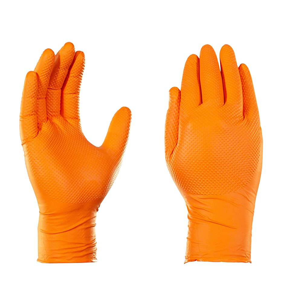 AMMEX Heavy Duty Orange Nitrile 8 Mil Disposale Gloves - Industrial, Extra Thick, Diamond Texture, Powder Free, Ambidextrous, Small, Box of 100