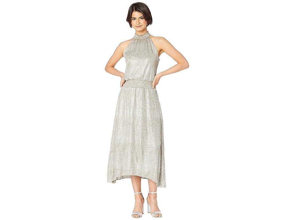 Bishop + Young Hishine Metallic Halter Dress (Metallic) Women
