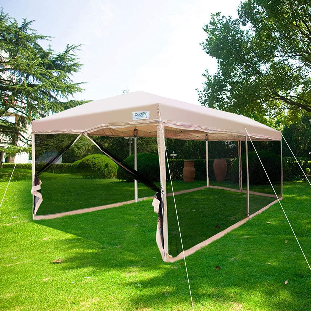 Quictent 10x20 Easy Pop up Canopy Tent Screen House with Netting Mesh Sides Walls(Tan)