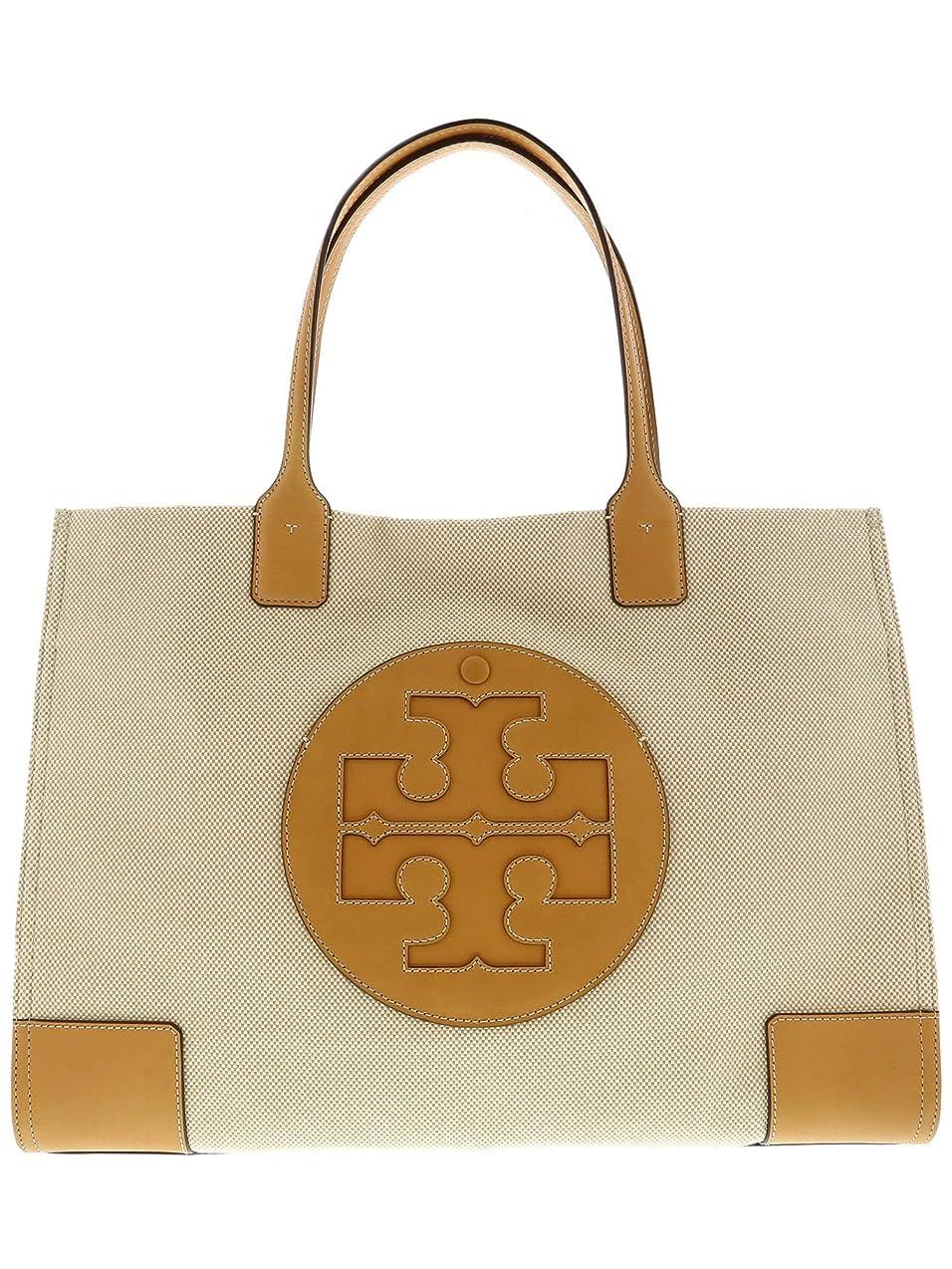 どうやってせがむ反対Tory Burch Women's Ella Canvas Tote Top-Handle Bag - Natural