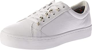 Tommy Hilfiger Women's Star Jewel Leather Lace-Up Dress Sneaker Trainers, White, 39 EU