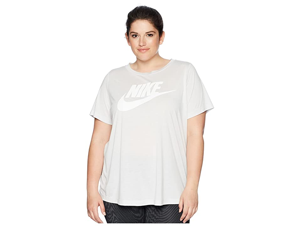Nike Sportswear Essential T-Shirt (Size 1X-3X) (Carbon Heather/Crimson Pulse) Women